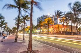 fort lauderdale at night amazing lights of beach boulevard stock