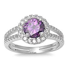 large amethyst diamond white gold amazon com sterling silver simulated purple amethyst halo ring