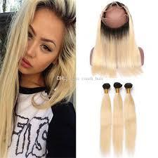 dark roots blonde hair 2018 dark roots blonde 360 lace frontal closure with hair bundles