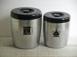 vintage west bend canister set flour sugar pantry metal storage