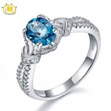 blue topaz engagement rings hutang solid 925 sterling silver gemstone london blue