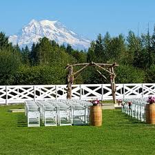 Wedding Venue With A Mountain View Surrounded By Trees With