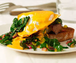 cuisine hollandaise fried eggs with garlicky chard and saffron pepper hollandaise