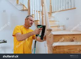 How To Install A Stair Banister How Install Stair Railing Kit Installation Stock Photo 707671255