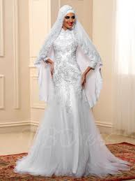 islamic wedding dresses islamic sleeve lace tulle mermaid muslim wedding dress