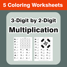 3 digit by 2 digit multiplication coloring worksheets by bios444