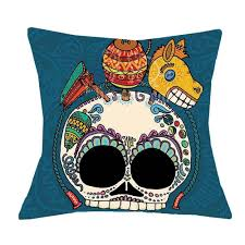 Home Decor Throw Pillows by Vibrant Mexican Sugar Skull Accent Cushions Teal Maracas