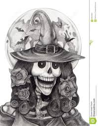 Colganology The Halloween Nightmare Art Challenge The Results Witch Face Sketch Art Skull Witch Halloween Day Stock