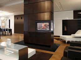 wall divider of central fireplace ideas with glass insert inside
