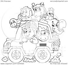 safari jeep png clipart of a black and white safari boy driving a jeep full of