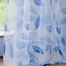 White And Blue Curtains Decorating Mediterranean Royal Blue Leaf Pattern White