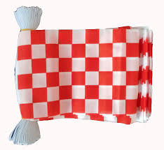 Red White Flag Red U0026 White Checkered Bunting 9 Metres 30 Flags