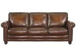 Aged Leather Sofa Bassett Hamilton Traditional Sofa With Nail Head Trim Great