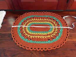 Red Oval Rug Fall Crochet Rug Welcome Mat Handmade Oval Rug Front