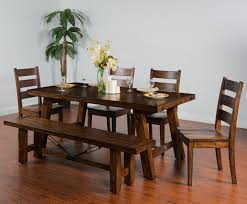Dining Room Table Set With Bench by Sunny Designs Tuscany Distressed Mahogany 6 Piece Extension Table