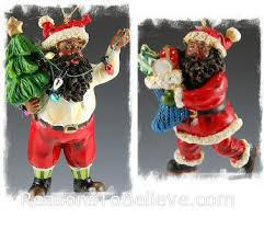 black santa ornaments santa claus figurines and carved