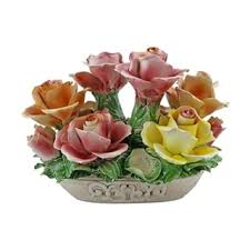 capodimonte roses authentic italian capodimonte flower basket with handle and bow