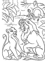 mufasa and nala in the wood with timon the lion king coloring page