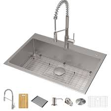 metal kitchen sink and cabinet combo 33 drop in undermount kitchen sink w oletto commercial pull faucet and soap dispenser in spot free stainless steel