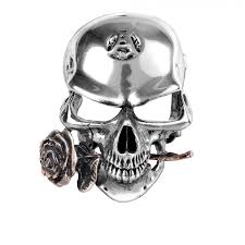 alchemist rex gothic skull buckle with bronze rose gothic jewelry