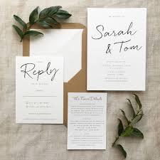 minimalist wedding invitation by pear paper co