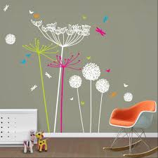 dandelions and cowparsley wall stickers white with pink green dandelions cowparsley wall stickers