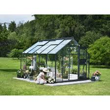 serre horticole en verre serre de jardin compact plus verre horticole 9 9 m anthracite