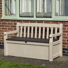 bench outdoor benches with storage wood effect plastic garden