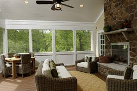 screened porch with corner fireplace home design ideas