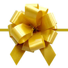 wedding gift bows organza pull bows with golden lines for wedding gift packing poly