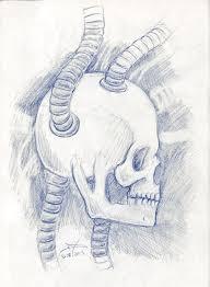 demon and a sci fi skull sketchblog of nela dunato cwtam