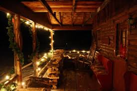 Christmas Decorations Outdoor Columns by Witching Christmas Village Cabin Using Natural Wood Handrails And