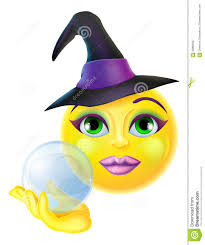 halloween crystal ball with head halloween witch emoticon emoji stock vector image 59866027