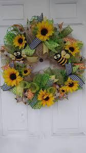 Sunflower Mesh Wreath 305 Best Wreaths Sunflowers Images On Pinterest Sunflower
