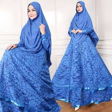 Baju Levis Biru model baju gamis syari brukat modern masa kini biru