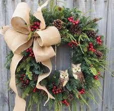 christmas wreath christmas wreath owl wreath burlap owl wreath burlap color