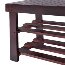 goplus wooden shoe bench boot storage shelf organizer seat