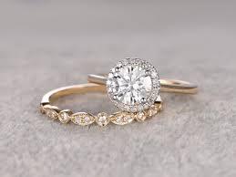 plain engagement ring with diamond wedding band two tone plain gold 2pcs 1ct moissanite bridal ring set engagement
