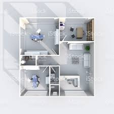 3d interior rendering plan view of furnished dental clinic stock