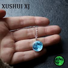 blue moon necklace images Xushui xj glow in the dark blue moon necklace glass cabochon jpg