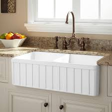 Apron Front Kitchen Sink Cabinet Apronfront Farmhouse Sink - Farmhouse kitchen sinks with drainboard