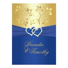 wedding invitations royal blue royal blue and gold floral wedding invitation zazzle