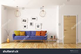 blue sofa living room modern interior living room blue sofa stock illustration 493476949