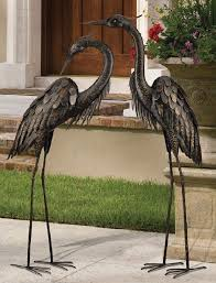 bronze heron pair coastal metal garden statue crane bird yard