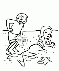 funny mermaid on a beach coloring page for kids seasons coloring