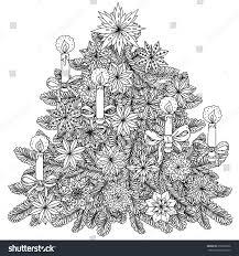 christmas tree ornament decorative items black stock vector