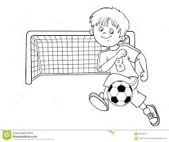 boy playing with a ball coloring page stock illustration image