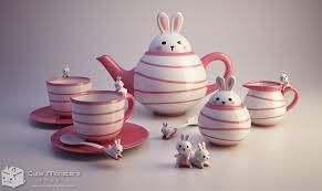 bunny tea set product 3d model rendering