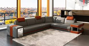 Sectional Sofa With Storage Contemporary 2 Tone Leather Sectional Sofa W Storage