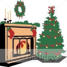 christmas tree by the fireplace christmas stocking clipart